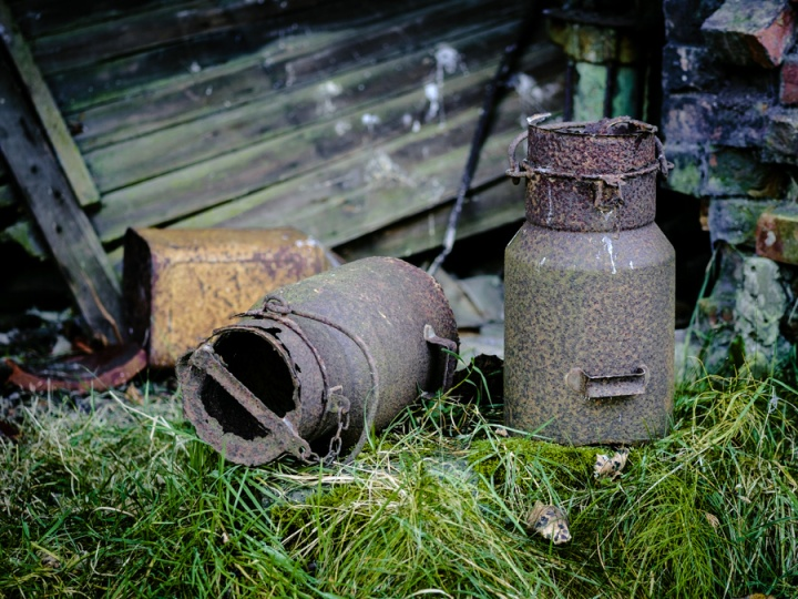 Rusting milk churns